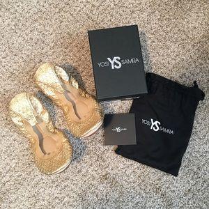 Yosi Samra | Foldable Gold Ballet Flat 8